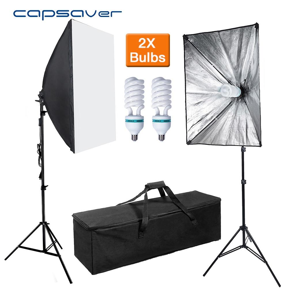 Capsaver 2 Set 50*70cm Softbox Diffuser Light Photography Lamp Studio Light Photo Equipment E27 Lamp Holder With Bulbs 2M Tripod