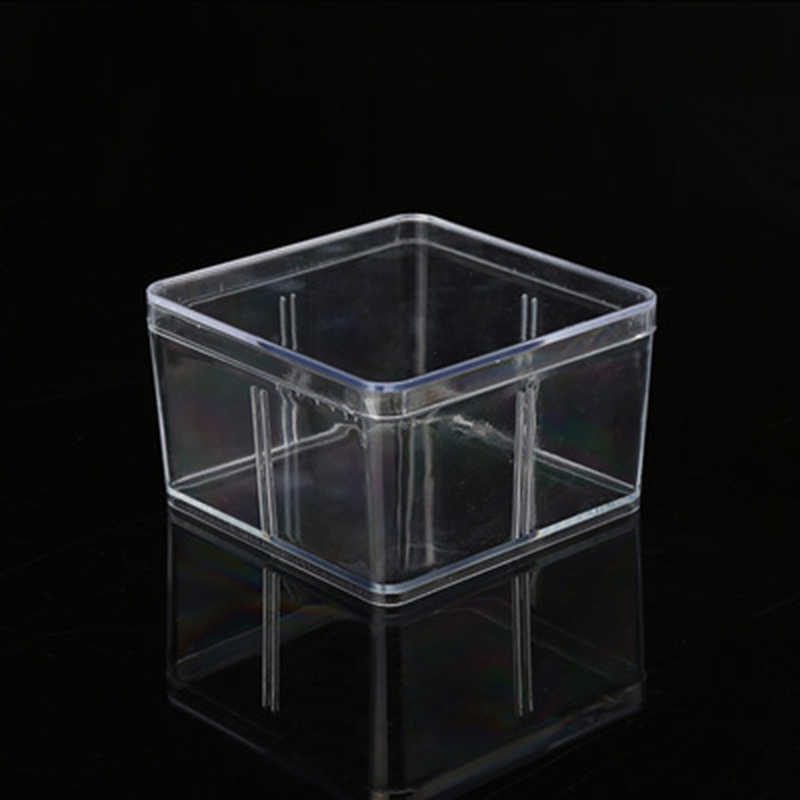 Caja cuadrada de plástico transparente con tapa, accesorios para componentes de joyería, organizador de maquillaje, escritorio de oficina, caja de almacenamiento de artículos diversos