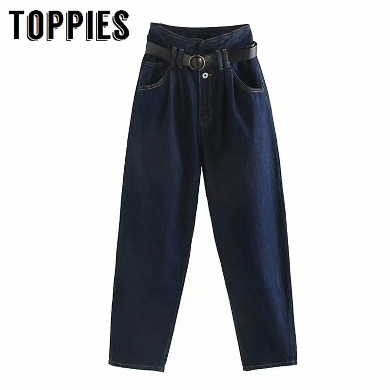 High Waist Blue Jeans With Belt 2019 Winter Denim Harem Pants Vintage Women Jeans Loose Trousers Streetwear
