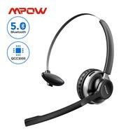 Mpow-auriculares inalámbricos con Bluetooth 5,0, dispositivo de audio transparente, con cancelación de ruido y cable, para PC, portátil, centro de llamadas y teléfonos