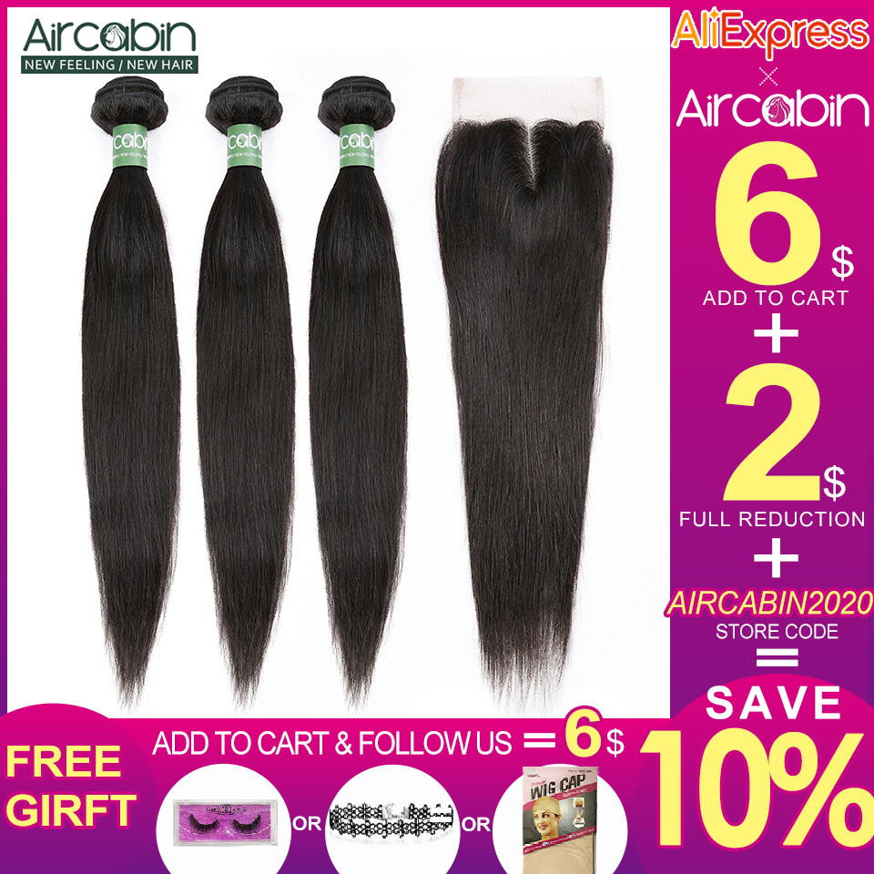 Aircabin Peruvian Straight Hair Bundles With Closure Human Hair 3 Bundles Deals And Lace Closure Remy Extension Natural Black