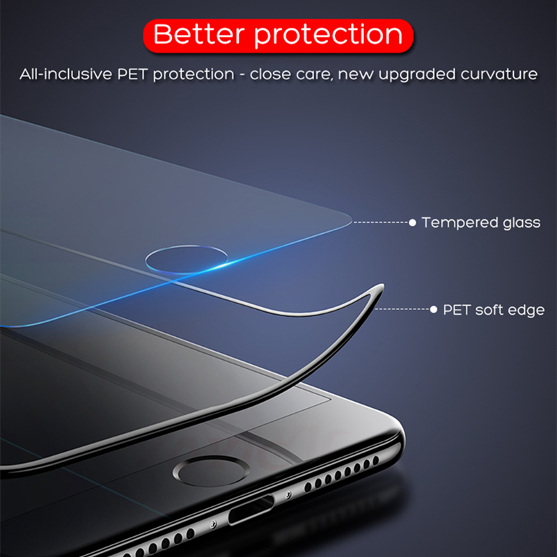 Image 2 - 99D Protective Tempered Glass On The For iPhone 6 6s 7 8 Plus X Glass Screen Protector Soft Edge Curved For iPhone X XS MAX XR-in Phone Screen Protectors from Cellphones & Telecommunications