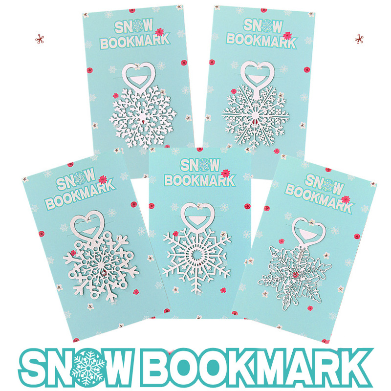 Snowflake Bookmarks Stainless Steel Merry Christmas Book Page Marker Metal Flower Bookmark