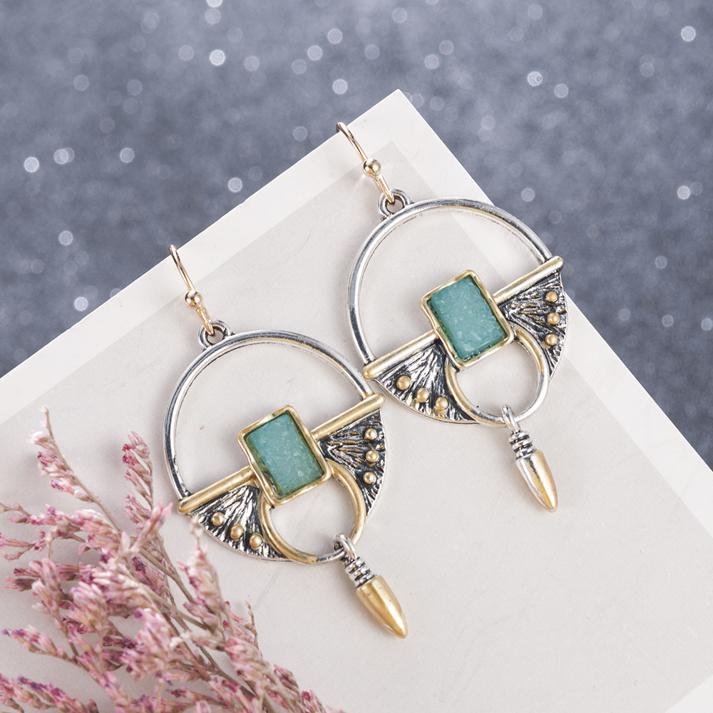 Vintage Ethnic Ear Hook Dangle Drop Earrings for Women Female Stone Bridal Party Wedding Indian Jewelry Ornaments Accessories