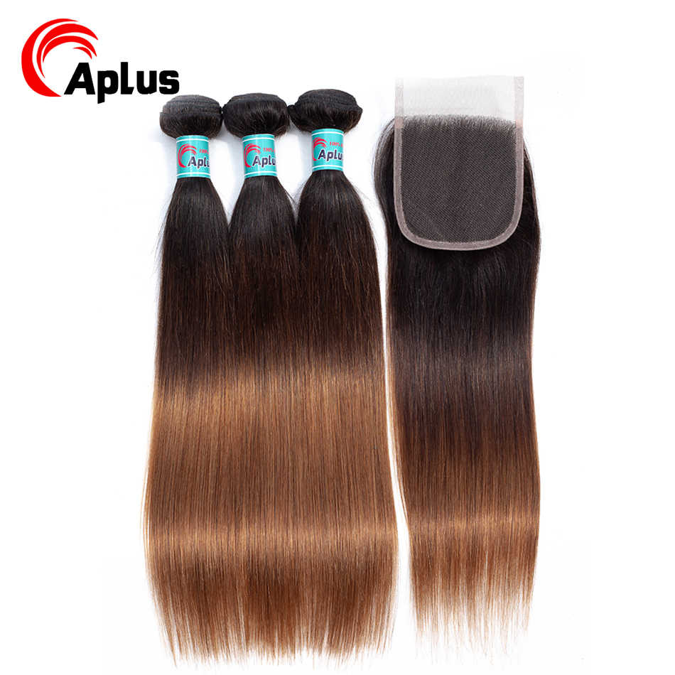 Aplus t1b/4/30 3 tom ombre cabelo com fechamento 100% feixes de cabelo malaio pré-colorido do cabelo humano com fechamento em linha reta não remy