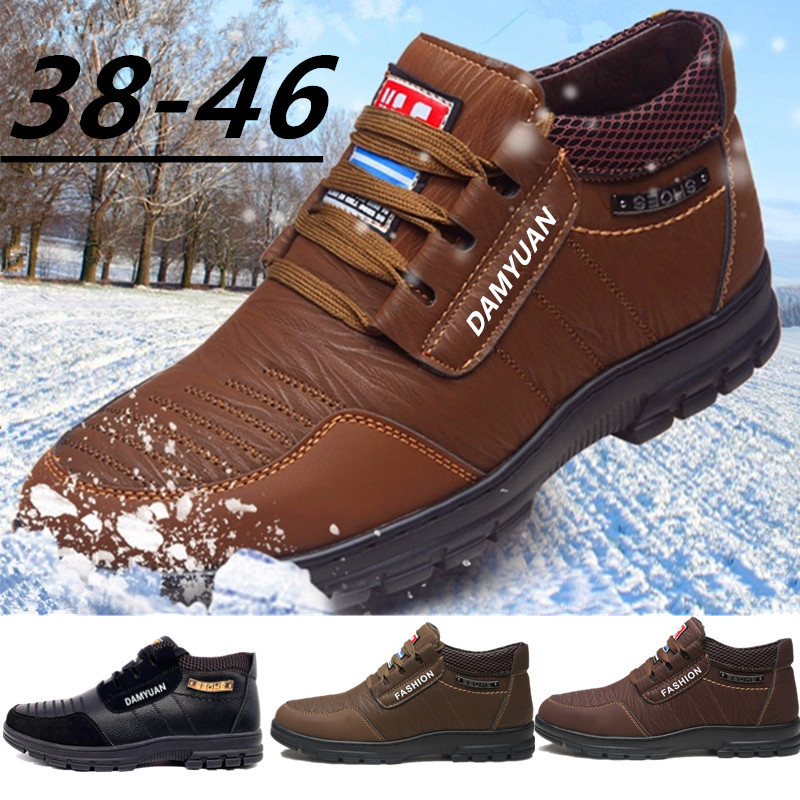 Hot Fur Men's Casual Shoes Warm Flats British Style Leather Footwear Comfort Non-slip Winter Boots Men Plus Size 12 Dropshipping