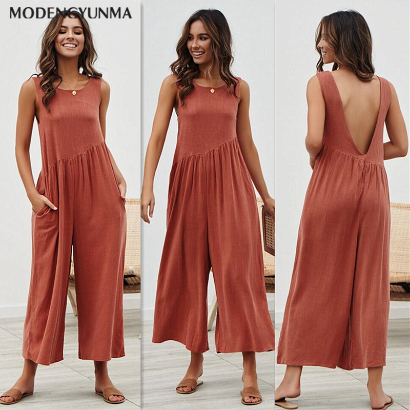 Summer Plus Size Women Cotton Linen Pocket Long Wide Leg Romper Strappy Dungaree Bib Overalls Casual Loose Solid Jumpsuit