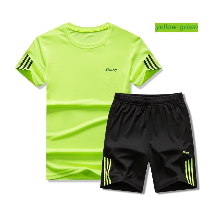 Men Short-sleeved Shorts Sportswear Quick-drying Sweat-absorbent Outdoor Table Tennis Football Training Shirt Men Sweat Suit