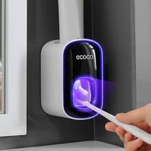 Duvara monte otomatik diş macunu dağıtıcı banyo aksesuarları seti diş macunu sıkacağı dağıtıcı banyo diş fırçası tutucu aracı