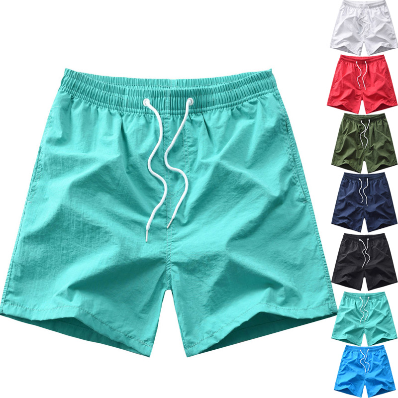 IiDossan Solid Color Simple Shorts Men Trunks Beach Board Shorts Summer Mens Classic Sports Gym Shorts Man Casual Short Pants