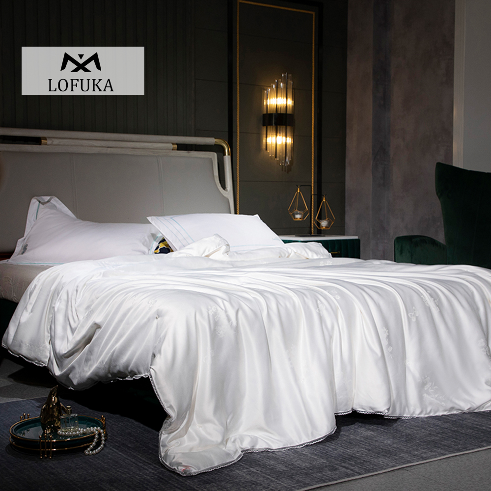 Lofuka Luxury 100% Mulberry Silk Quilt Healthy Handwork Silk Comforters Duvet Silk Filled Double Queen King Quilt For Home