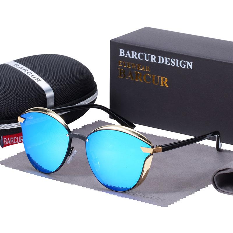 BARCUR Luxury Polarized Sunglasses Women Round Sun glassess Ladies lunette de soleil femme 7