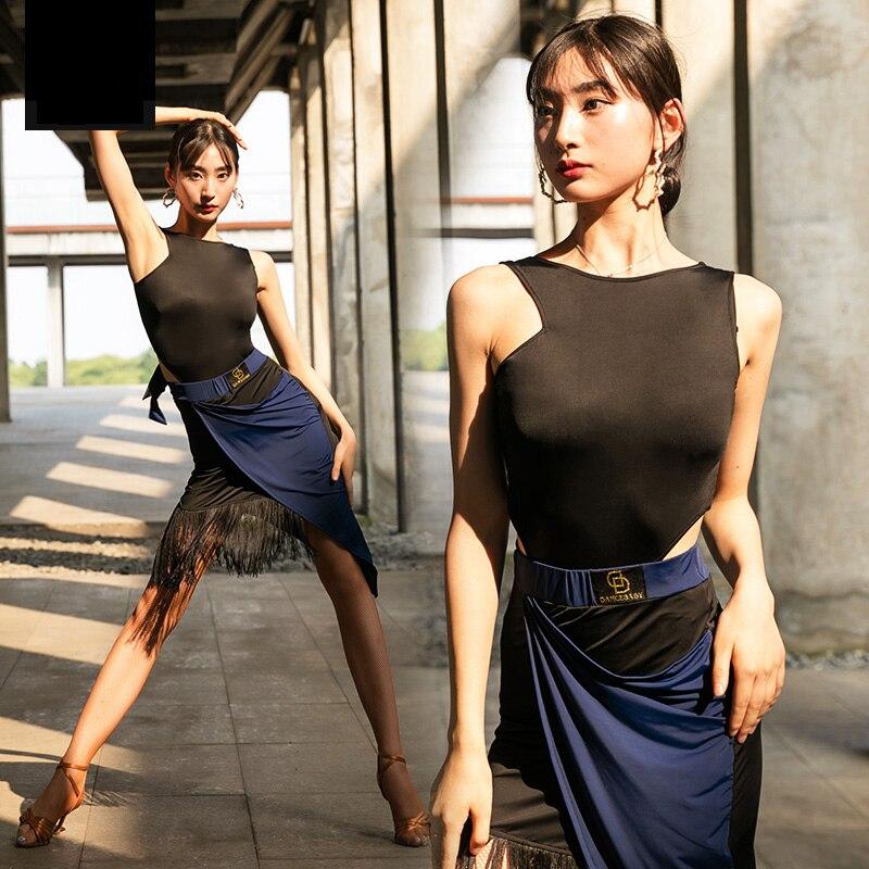 Sexy Latin Dance Costumes Women Tango Salsa Cha Cha Fringe Performance Outfit Ballroom Samba Rumba Practice Dancing Wear DF1711