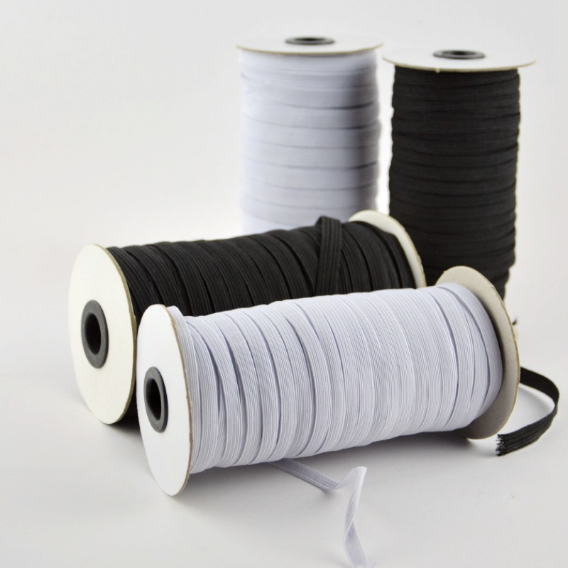Elastic Bands White and Black 5 Meters 6/8/10/12/15/20/30/35/40mm Polyester Elastic Bands for Clothes Garment Sewing Accessories image