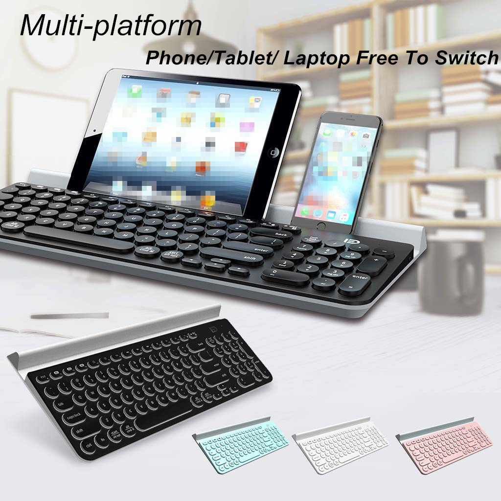 Wireless Keyboard With Round Keycap For Phone/Tablet/Laptop Long Battery Life image