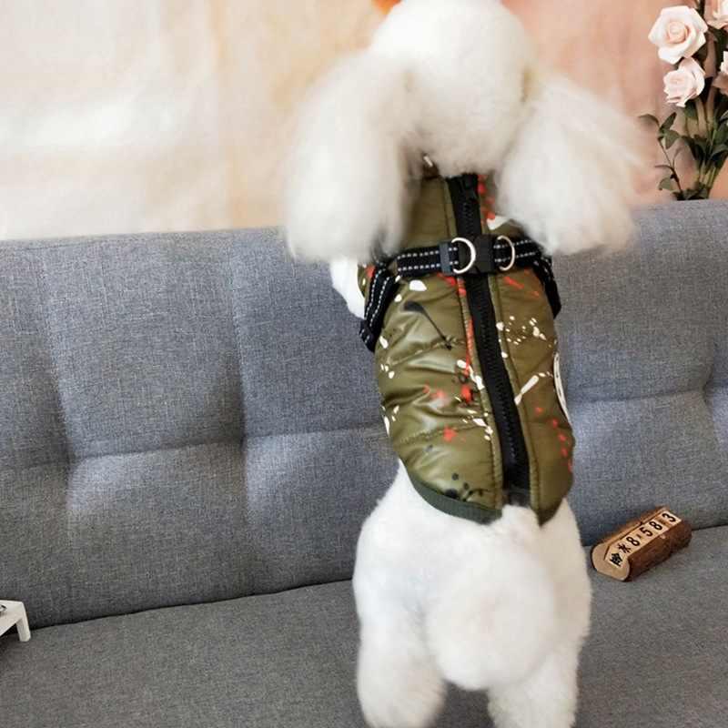 Ropa de invierno para perros abrigo chaqueta de perro cachorro chaleco sin mangas traje de nieve ropa sudaderas con capucha para pequeños perros medianos traje S-XXL