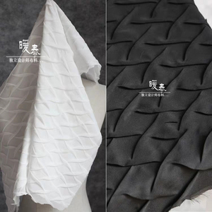 83*70cm Pleated Chiffon Fabric Scales texture Three-dimensional folds DIY Patchwork bazin riche Dress Craft Designer Fabric