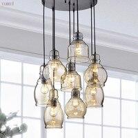 Nordic Modern loft hanging Glass Pendant Lamp Fixtures LED Pendant lights for Kitchen Restaurant Bar living room bedroom