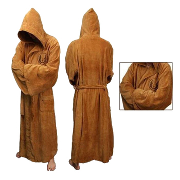 Flannel Robe Male with Hooded Thick Star Wars Dressing Gown Jedi Empire Men's Bathrobe Winter Long Robe Mens Bath Robe Pajamas
