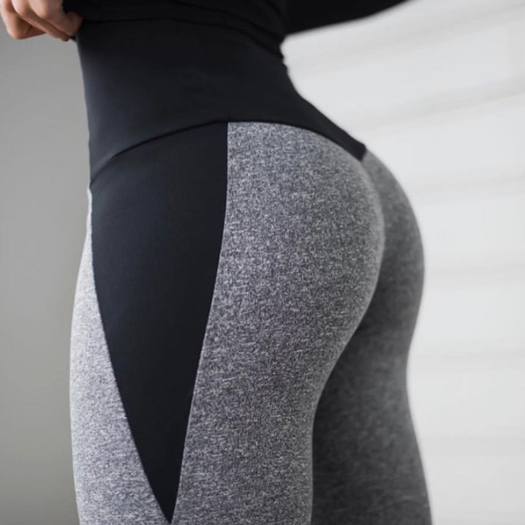 S-XL Plus Size Women High Waist Casual Workout Legging Super Stretch Black Gray Patchwork Fitness Legging Pant