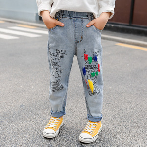 Image 4 - High Quality Color Paint Kids Jeans For Girls Boys Letter Jeans For Boys Girls Autumn Childrens Clothing Kids Jeans 3 13 Ages