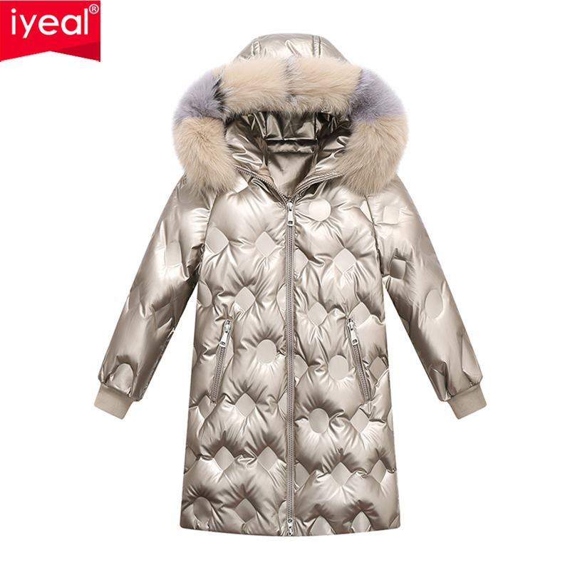 Brand Boys Girl Clothes Warm Down Jacket Children Coat Parka Real Fur Kids Teenager Thickening Outerwear For Cold Winter -30