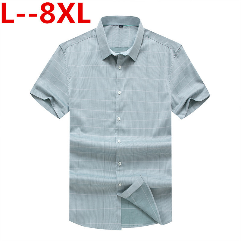 8XL 6XL 5XL 4XL Summer Pinted New Mens Fashion Casual Shirts Short Sleeve Dress Shirt Geometri Social Mens Slim Fit Plaid Shirt