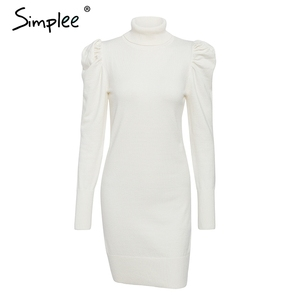 Image 5 - Simplee Turtle neck bodycon winter knitted women dress Puff shoulder pink sweater dress female Sexy ladies solid autumn vestidos