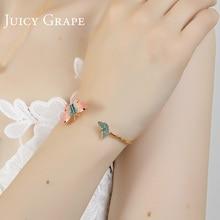 Juicy Grape Colored Butterfly Enamel Open Bracelet Women Fashion Decoration Jewelry