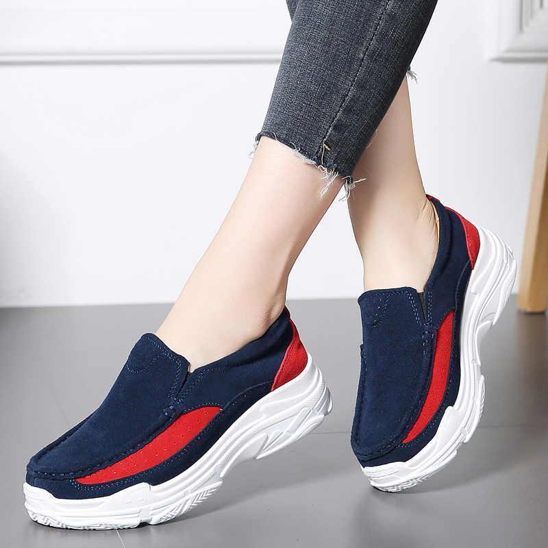Plardin nouveau femmes plate-forme mocassins en daim cuir sans lacet Moccains dames printemps chaussures appartements femmes Creepers baskets