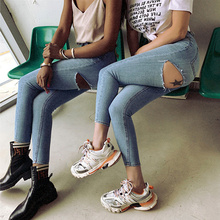 JUJULAND Denim Jean Pencil-Pants Hole Stretch Blue High-Waist Fashion Women Solid Skinny