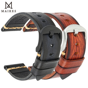 Image 3 - MAIKES Handmade Watch Band Cow Leather Watch Strap Vintage Watchband With Stainless Steel buckle For Panerai Omega SEIKO CITIZEN