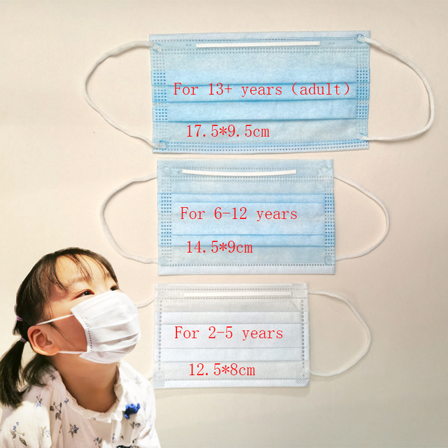 100PCS/lot 3 layer Disposable Elastic Child Mouth mask Soft Breathable Flu Hygiene Kids Face masks anti dust mask 1