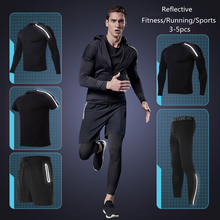 Vansydical Gym Clothing Set Mens Fitness Running Compression Tights Sportswear Basketball Jerseys Reflective Sports Suit