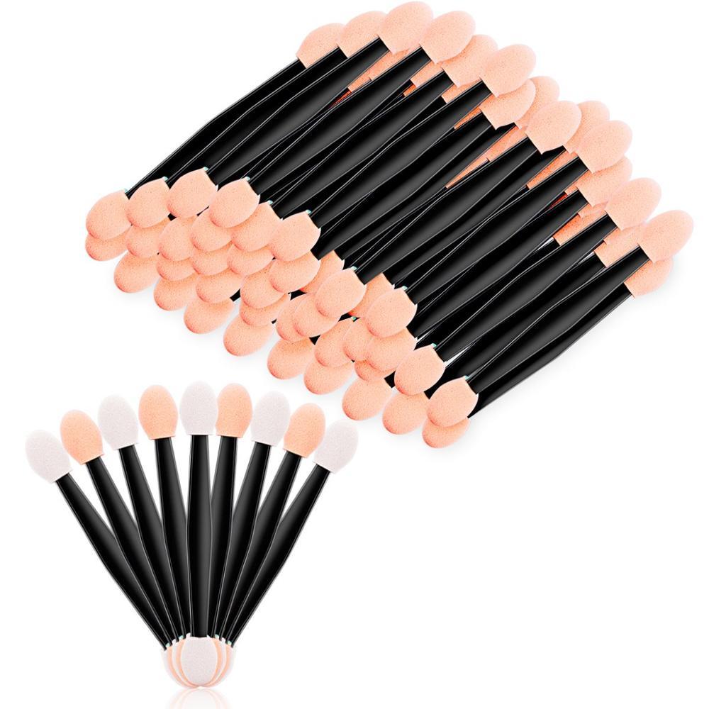 100pcs Double-Ended Eye Shadow Cosmetic Brushes Eyeshadow Eyeliner Sponge Lip Brush Disposable Eye Applying Brush Makeup Tools