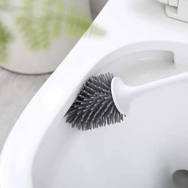 Toilet Cleaning Brush Long Handle Rubber Head With Base Bathroom Cleaning Brush