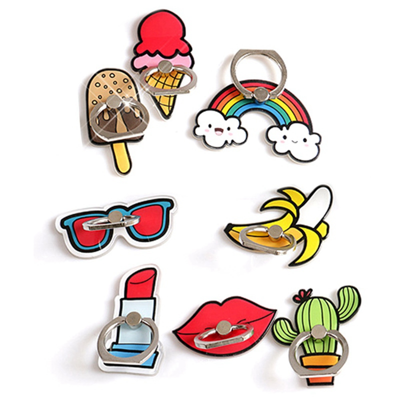 2020 Cartoon Red Lips Ice Cream Rainbow Cactus Mobile Phone Finger Ring Holder  Bracket Cute Accessories For Mobile Phone