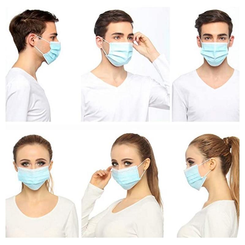 Image 5 - 50pcs/box 3 Ply Face Mask Medical Masks Disposable Face Masks Elastic Ear Loop Disposable Dust Filter Safety Mask