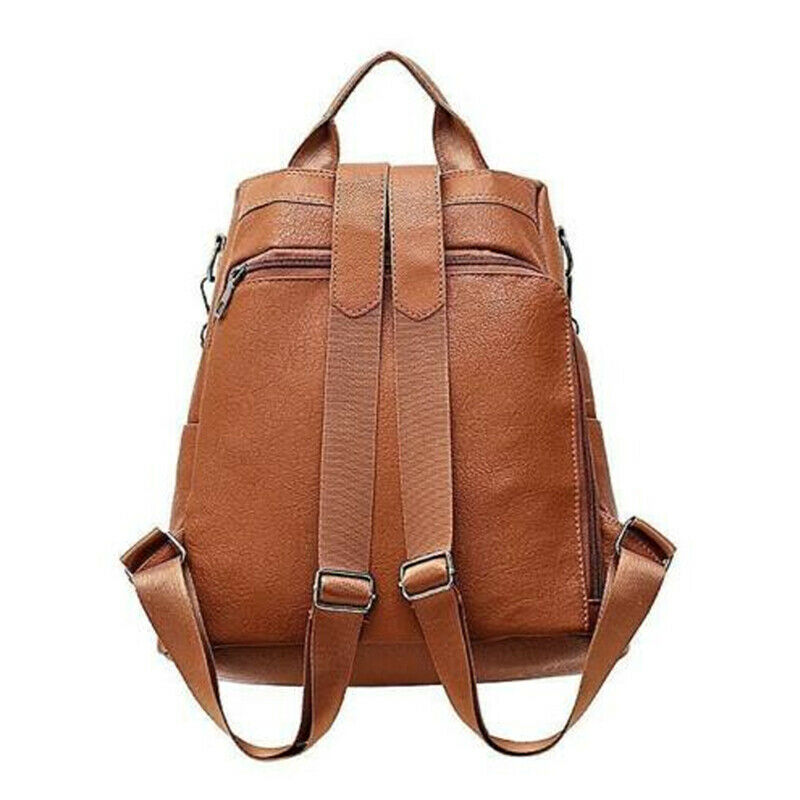 New Casual Womens Leather Backpack Anti-Theft Rucksack School Shoulder Bag Black/Brown 2