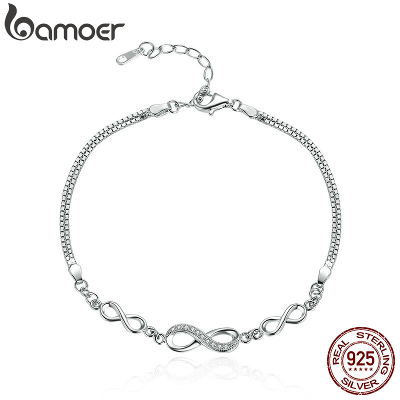 BAMOER Authentic 925 Sterling Silver Endless Love Infinity Chain Link Adjustable Women Bracelet Luxury Silver Jewelry SCB037(China)