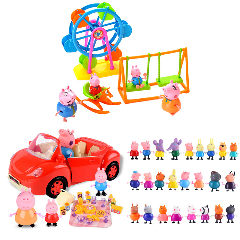 Peppa Pig Ferris Wheel Set Play House Swing Toys PVC Red Car Set Action Figure Anime Figures Toys  Children Birthday Best Gifts