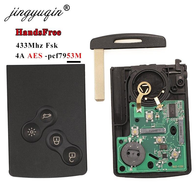 Jingyuqin 433 МГц 4A PCF7953 чип-ключ для автомобиля карта для Renault Clio IV Captur пассивная бесключевая Go вход Удаленная умная система громкой связи