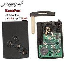 Jingyuqin 433mhz 4a pcf7953 chip cartão chave do carro para renault clio iv captur keyless passiva ir entrada remoto inteligente sistema handsfree