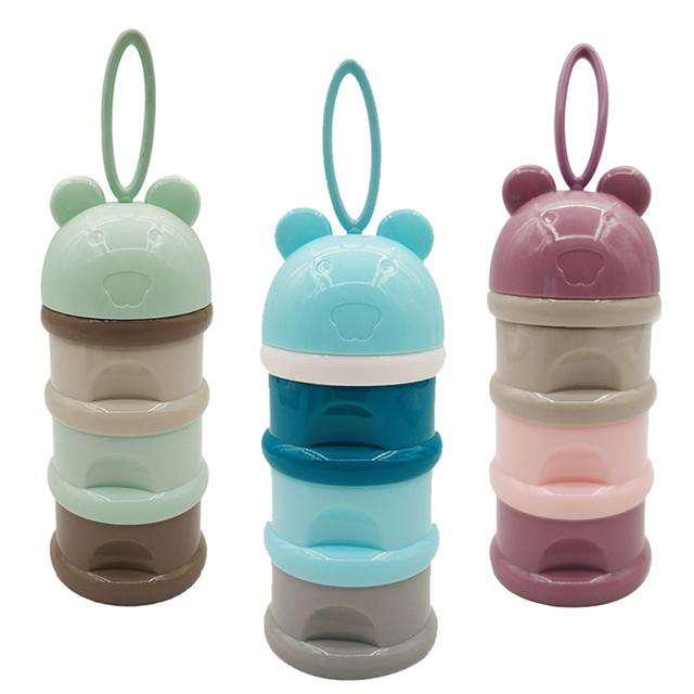 3 layer Frog Style Portable Baby Food Storage Box Essential Cereal Cartoon Milk Powder Boxes Toddle Kids Formula Milk Container