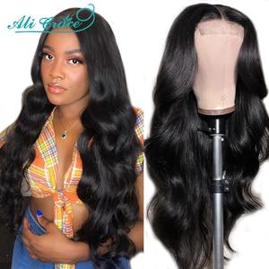Ali Grace 4x4 объемный волнистый кружевной парик, бразильский парик, человеческие волосы, парики 180%, Полная плотность, предварительно выщипанные ...