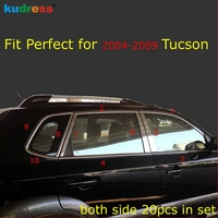 Para Hyundai Tucson 2004-2009 Inoxidável Moldura Da Janela Sill Belt Acabamentos Mensagens Pilar cromo do carro-styling molduras 18pcs