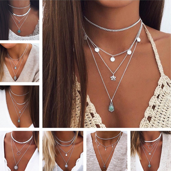 Tenande Bohemian Multi Layered Necklace for Women Vintage Portrait Coin Star Moon Pendant Necklace Geometric Collier Collares