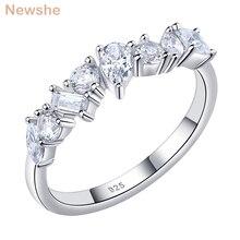 Newshe 925 ayar gümüş düzensiz beyaz AAA kübik zirkonya düğün nişan yüzüğü kadınlar için kişilik takı hediye
