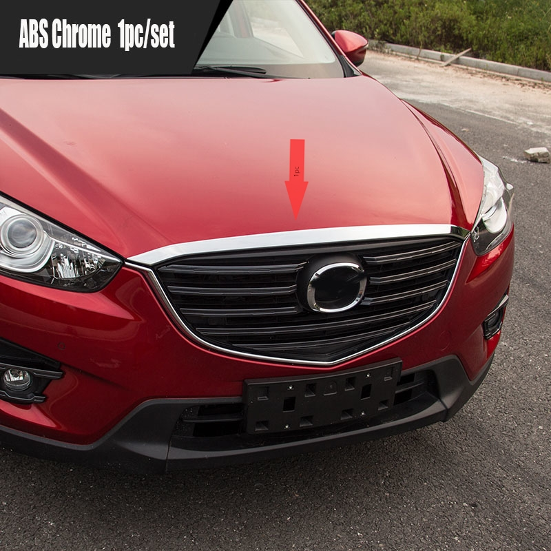 KOUVI Accessories For <font><b>Mazda</b></font> CX-5 <font><b>CX5</b></font> <font><b>2015</b></font> <font><b>2016</b></font> ABS Chrome Front Grille Hood Trim car styling image