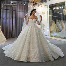 כבוי כתף שרוולים ארוכים יפה חתונה שמלת תחרה כלה שמלת 2020